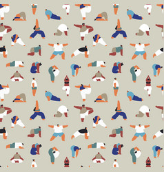 diverse people yoga pose seamless pattern cartoon vector image