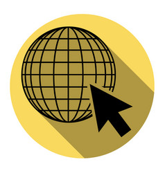 Earth globe with cursor flat black icon vector