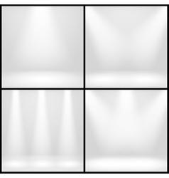 Empty white interior photo studio room with lamps vector image