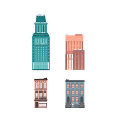 Flat buildings architecture icon set vector