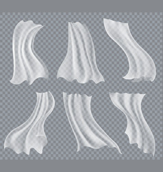 flying white curtains on transparent vector image