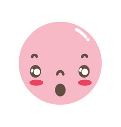 Full color kawaii head with cute scared face vector