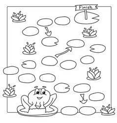 Game template with frog coloring book vector