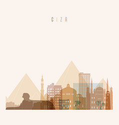 giza skyline detailed silhouette transparent vector image
