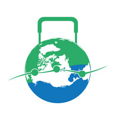 Globe luggage shaped logo vector