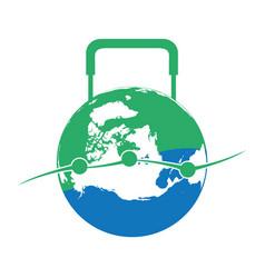 globe luggage shaped logo vector image