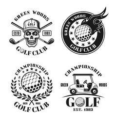 Golf set four isolated vintage emblems vector