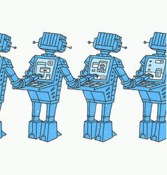 Group of robots and personal computer vector