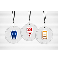 Hanging online support badges vector image