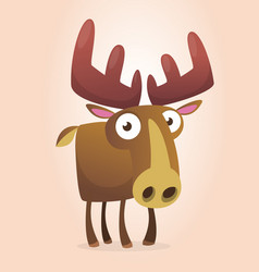 happy cartoon moose character vector image