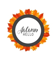 Hello autumn round frame with hand drawn orange vector