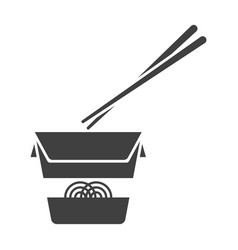 icon of chinese noodles in a paper box on white vector image