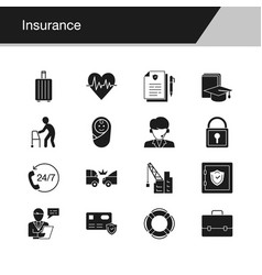 insurance icons design for presentation graphic vector image