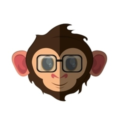 Isolated monkey cartoon with glasses design vector