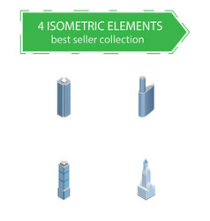 isometric construction set of building cityscape vector image