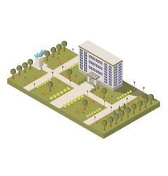 isometric university and campus composition vector image