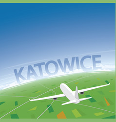 Katowice flight destination vector