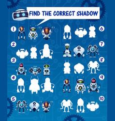 Kids game find robot shadows riddle vector