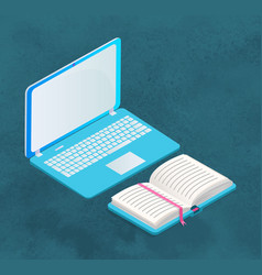 laptop and book isolated on blue for studying vector image
