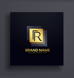 Letter r premium logo design concept in gold vector