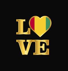 Love typography guinea flag design gold lettering vector