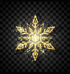 luxury golden snowflake symbol of new year vector image