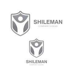 man and shield logo concept vector image
