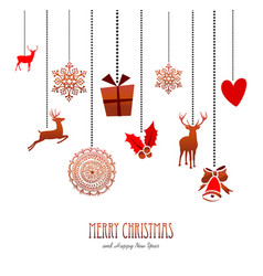 Merry christmas retro hanging xmas decoration card vector