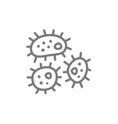 Microbe bacteria line icon vector
