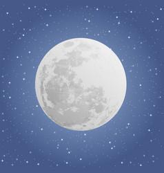 Moon on dark background night sky vector