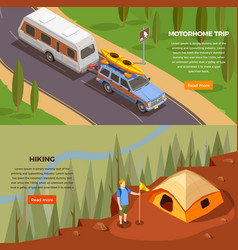 Motorhome trip banners collection vector