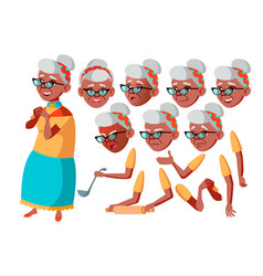 Old woman black afro american senior vector