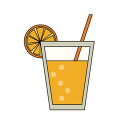 orange juice cup vector image