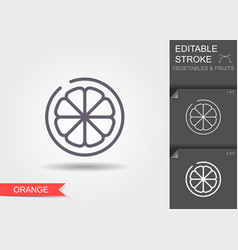 orange outline icon with shadow vector image