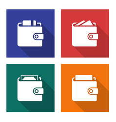 Packed wallets icons set in flat style with long vector