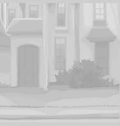 part of a cartoon old house with a door and vector image