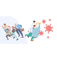 People running chased virus doctor protect vector