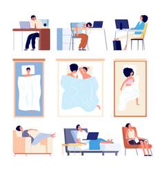 People sleeping couple sleep in bed blanket flat vector