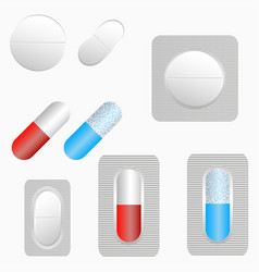 pills set of tablets and capsule in blister pack vector image