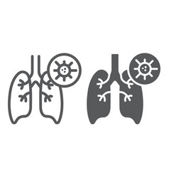 Pneumonia line and glyph icon flu and coronavirus vector