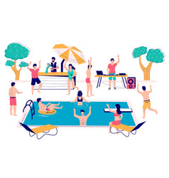 pool party concept flat style design vector image