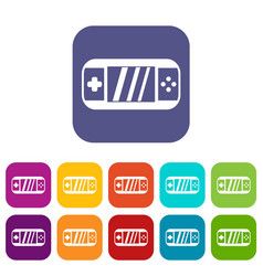 Portable video game console icons set vector