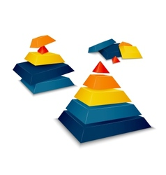 Pyramid assembled and disassembled vector