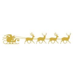 santa sleigh reindeer gold silhouette vector image