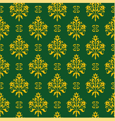 seamless floral pattern golden and green vector image
