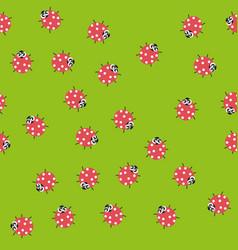 seamless pattern with kawaii ladybugs vector image