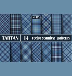 Set blue tartan seamless pattern vector