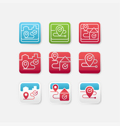 set of location app icon vector image