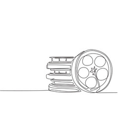 single continuous line drawing stack retro old vector image