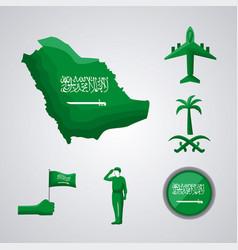 Six saudi national day icons vector